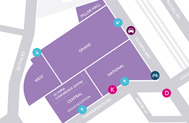 Map of Olympia London venues